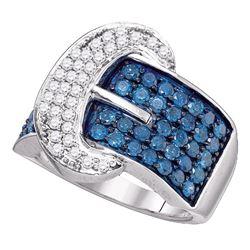 1.89 CTW Blue Color Diamond Belt Buckle Ring 10KT White Gold - REF-101Y9X