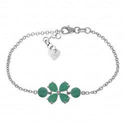 Genuine 3.15 ctw Emerald Bracelet Jewelry 14KT White Gold - REF-71T9A