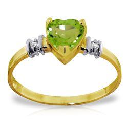 Genuine 0.98 ctw Peridot & Diamond Ring Jewelry 14KT Yellow Gold - REF-31X2M