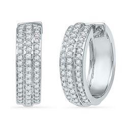 0.50 CTW Diamond Hoop Earrings 10KT White Gold - REF-48W7K
