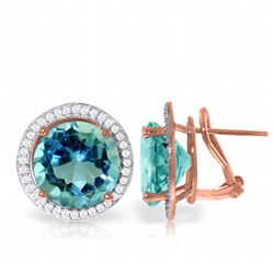 Genuine 16 ctw Blue Topaz & Diamond Earrings Jewelry 14KT Rose Gold - REF-123N4R