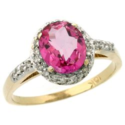 Natural 1.3 ctw Pink-topaz & Diamond Engagement Ring 14K Yellow Gold - REF-32H2W