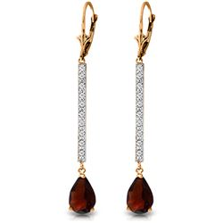 Genuine 3.6 ctw Garnet & Diamond Earrings Jewelry 14KT Rose Gold - REF-60R4P