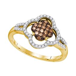 0.33 CTW Cognac-brown Color Diamond Cluster Ring 10KT Yellow Gold - REF-24M2H