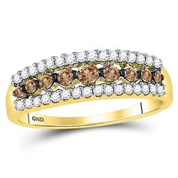 0.50 CTW Cognac-brown Color Diamond Triple Row Ring 10KT Yellow Gold - REF-22X4Y