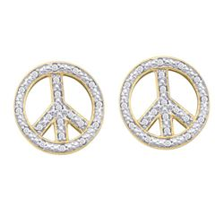 0.15 CTW Diamond Peace Sign Circle Screwback Stud Earrings 10KT Yellow Gold - REF-22H4M