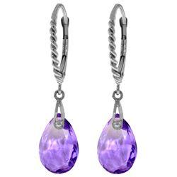 Genuine 6 ctw Amethyst Earrings Jewelry 14KT White Gold - REF-30W6Y