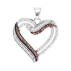 0.35 CTW Cognac-brown Color Diamond Heart Pendant 10KT White Gold - REF-28H4M