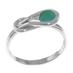 Genuine 0.65 ctw Emerald Ring Jewelry 14KT White Gold - REF-49F6Z
