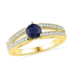 0.20 CTW Created Blue Sapphire Solitaire Split-shank Ring 10KT Yellow Gold - REF-25W4K
