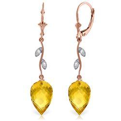 Genuine 19.02 ctw Citrine & Diamond Earrings Jewelry 14KT Rose Gold - REF-51W9Y
