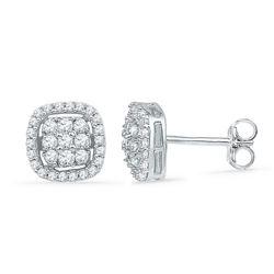 0.50 CTW Diamond Square Cluster Earrings 10KT White Gold - REF-34H4M