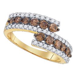 1.02 CTW Cognac-brown Color Diamond Ring 10KT Yellow Gold - REF-37K5W
