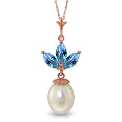 Genuine 4.75 ctw Blue Topaz & Pearl Necklace Jewelry 14KT Rose Gold - REF-24H3X