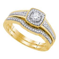 0.33 CTW Diamond Bridal Wedding Engagement Ring 10KT Yellow Gold - REF-56F2N