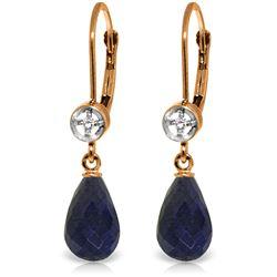 Genuine 6.63 ctw Sapphire & Diamond Earrings Jewelry 14KT Rose Gold - REF-29V7W