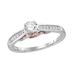 0.34 CTW Diamond Solitaire Bridal Engagement Ring 14KT White Gold - REF-67M4H