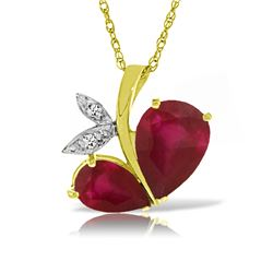 Genuine 5.36 ctw Ruby & Diamond Necklace Jewelry 14KT Yellow Gold - REF-84R3P