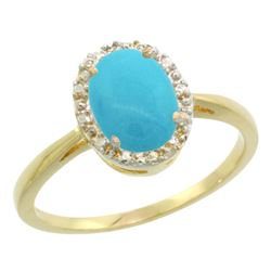 Natural 1.22 ctw Turquoise & Diamond Engagement Ring 10K Yellow Gold - REF-22X3A