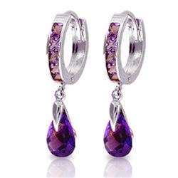Genuine 3.3 ctw Amethyst Earrings Jewelry 14KT White Gold - REF-50V6W