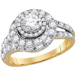 2 CTW Certified Diamond Engagement Bridal Ring 14k Yellow Gold - REF-330X2Y