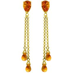 Genuine 7.5 ctw Citrine Earrings Jewelry 14KT Yellow Gold - REF-39Y3F