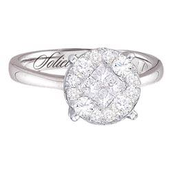 2 CTW Princess Diamond Soleil Cluster Bridal Engagement Ring 14KT White Gold - REF-285K2W