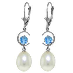 Genuine 9 ctw Blue Topaz Earrings Jewelry 14KT White Gold - REF-36W3Y