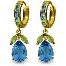 Genuine 14.3 ctw Blue Topaz & Peridot Earrings Jewelry 14KT Yellow Gold - REF-82Y9F