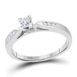 0.25 CTW Princess Diamond Solitaire Bridal Engagement Ring 14KT White Gold - REF-37W5K