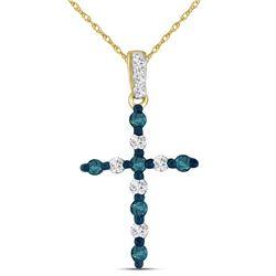 0.25 CTW Blue Color Diamond Cross Pendant 10KT Yellow Gold - REF-13H4M