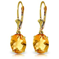 Genuine 6.25 ctw Citrine Earrings Jewelry 14KT Yellow Gold - REF-41T2A