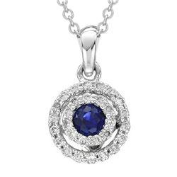 0.25 CTW Sapphire & Diamond Necklace 14K White Gold - REF-24M2F