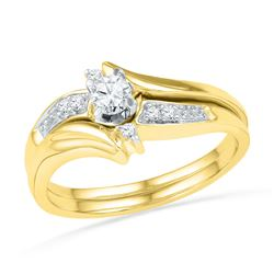 0.25 CTW Diamond Bridal Wedding Engagement Ring 10KT Yellow Gold - REF-33F7N
