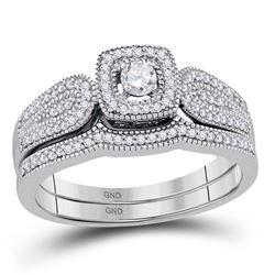 0.33 CTW Diamond Square Halo Bridal Engagement Ring 10KT White Gold - REF-49H5M