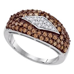 1 CTW Brown Color Diamond Ring 10KT White Gold - REF-44H9M