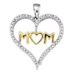 0.07 CTW Diamond Mom Mother Heart Pendant 10KT Two-tone Gold - REF-14N9F