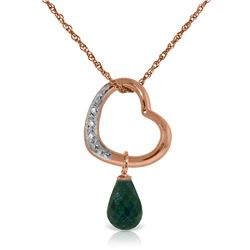Genuine 3.33 ctw Emerald & Diamond Necklace Jewelry 14KT Rose Gold - REF-46T2A
