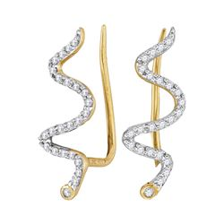 0.16 CTW Diamond Snake Climber Earrings 10KT Yellow Gold - REF-12K2W