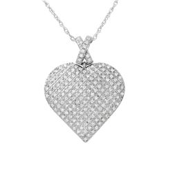 0.50 CTW Diamond Necklace 14K White Gold - REF-68M3F
