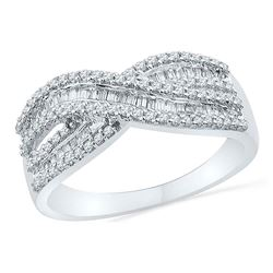 0.49 CTW Diamond Crossover Ring 10KT White Gold - REF-34N4F