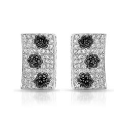 1.59 CTW White & Black Diamond Earrings 14K White Gold - REF-105H7M