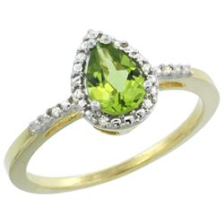 Natural 1.53 ctw peridot & Diamond Engagement Ring 10K Yellow Gold - REF-18A9V