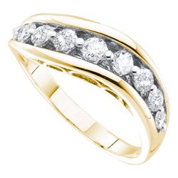 0.51 CTW Pave-set Diamond Arched Ring 14KT Yellow Gold - REF-64F4N