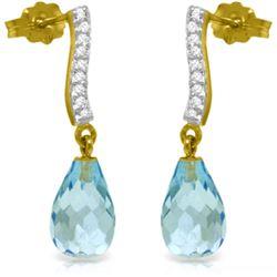 Genuine 4.78 ctw Blue Topaz & Diamond Earrings Jewelry 14KT Yellow Gold - REF-46Y2F