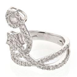 0.80 CTW Diamond Ring 18K White Gold - REF-106H4M