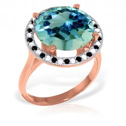 Genuine 8 ctw Blue Topaz, White & Black Diamond Ring Jewelry 14KT Rose Gold - REF-93H3X