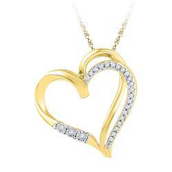0.10 CTW Diamond Open-center Heart Love Pendant 10KT Yellow Gold - REF-14X9Y