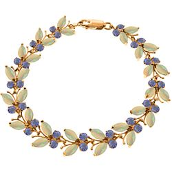 Genuine 10.50 ctw Opal & Tanzanite Bracelet Jewelry 14KT Rose Gold - REF-211X3M