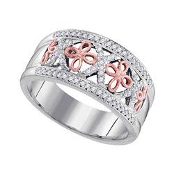 0.20 CTW Diamond Cross Ring 10KT Two-tone Gold - REF-34N4F